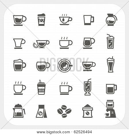 Coffee Cup And Tea Cup Icons Set