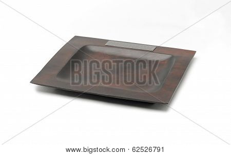wooden tray decorated by pewter