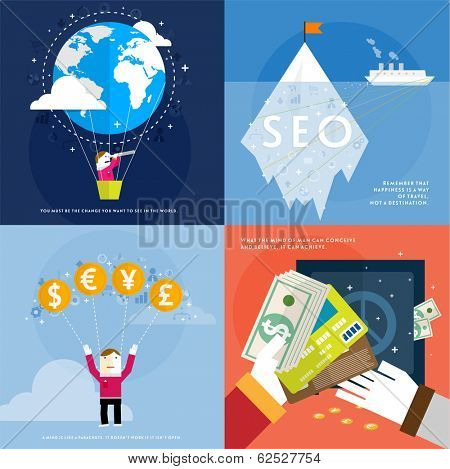 Set of icons. Flat Design. Mobile Phones, Tablet PC, Web and Apps vector icons. Marketing and Time Management Services Illustrations. SEO and Money. Responsive internet advertising and pay templates.