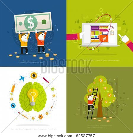 Set of icons. Flat Design. Mobile Phones, Tablet PC, Web and Apps vector icons. Marketing, Money and Time Management Services Illustrations. Responsive internet advertising and pay templates.