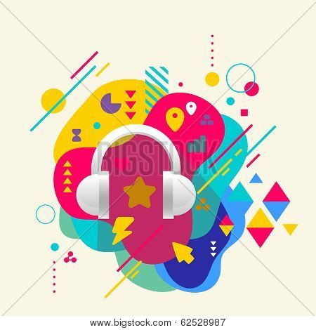 Headphones On Abstract Colorful Spotted Background With Differen