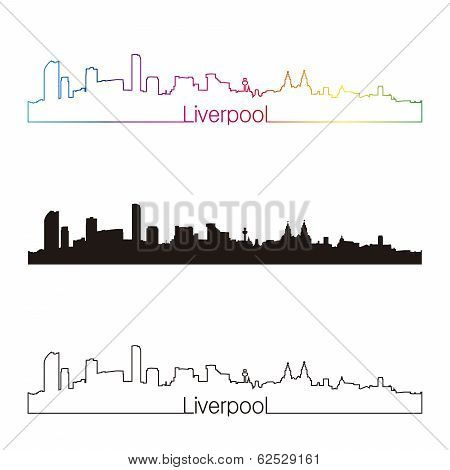 Liverpool Skyline Linear Style With Rainbow