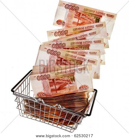 One Million Russian  Banknotes Rubles of the Russian Federation falling in your shopping basket cart - isolated on white background