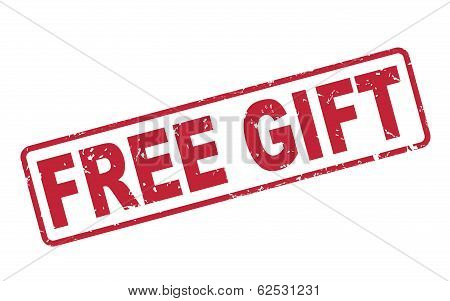 Stamp Free Gift With Red Text On White