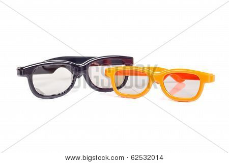 Two Pairs Of 3-d Cinema Glasses Isolated On White Background