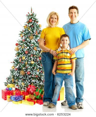 Family And A Christmas Tree