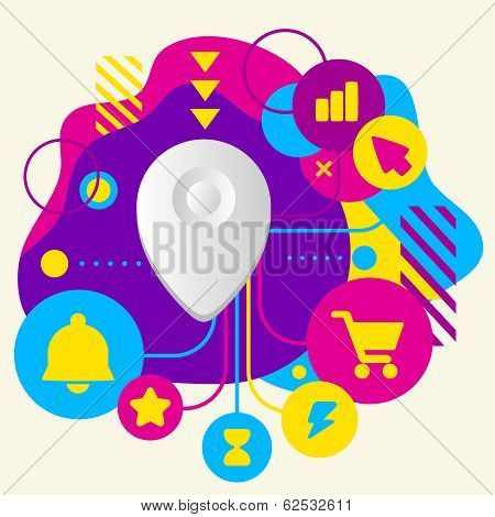 Geo Location On Abstract Colorful Spotted Background With Different Icons And Elements