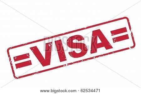 Stamp Visa With Red Text On White