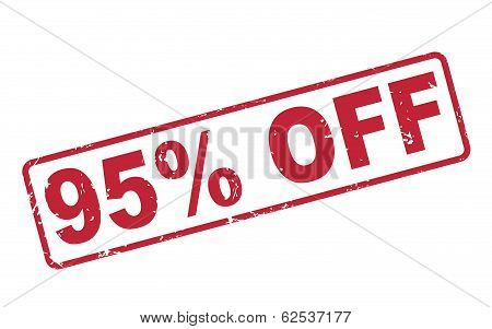 Stamp 95 Percent Off With Red Text On White