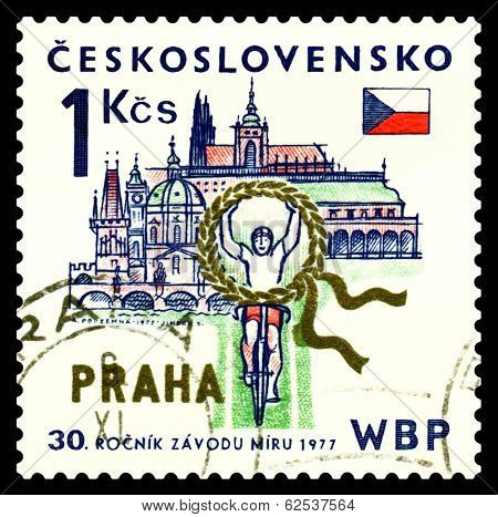 Vintage  Postage Stamp. Bicycle Racing. Prague.