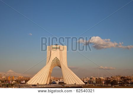 Azadi Monument And Damavand Peak In Tehran