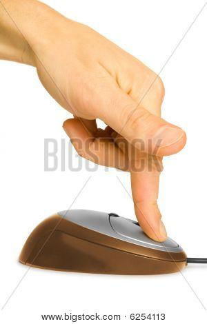 Dedo e Mouse de computador