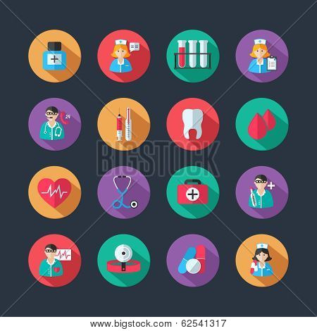 Medical icons and doctor avatars set