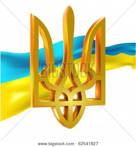 Ukrainian Flag And Coat Of Arms