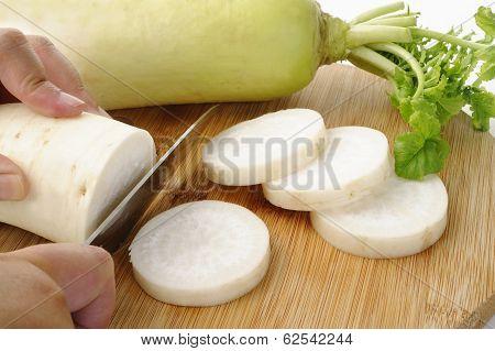 Slice Daikon Radish