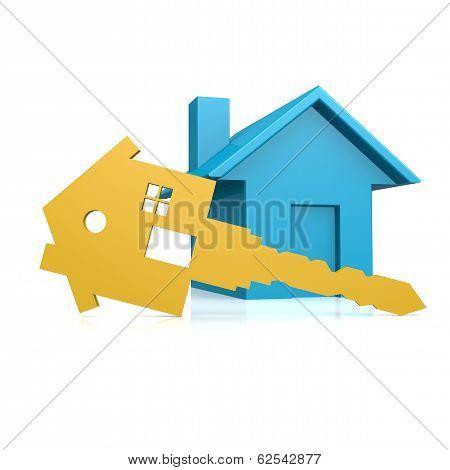 House Key With Blue House