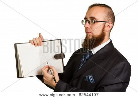Businessman Holding A Pen Requesting A Signature