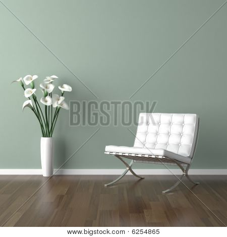 White Barcelona Chair On Green