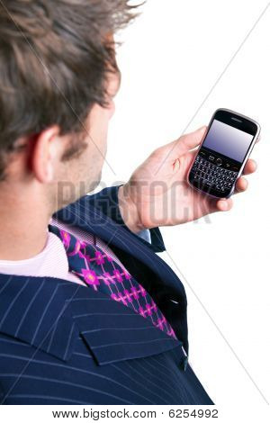 Businessman Checking His Phone For Emails.