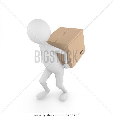Hombre que lleva la caja