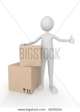 Man with cardboard boxes showing thumbs up