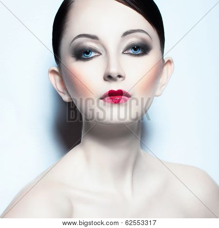 Portrait Of A Beautiful Woman Like Doll With A Glamorous Cool Makeup