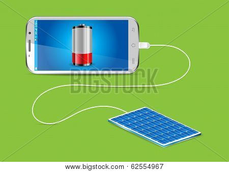 Charging A Mobile Phone With A Solar Powerbank - Vector Illustration