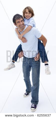 Man Giving Boy Piggyback Ride