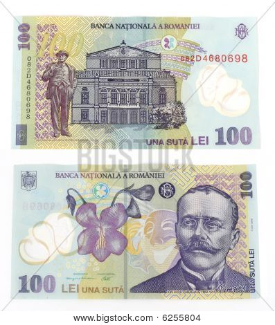 100 Lei(romanian Currency) Isolated.