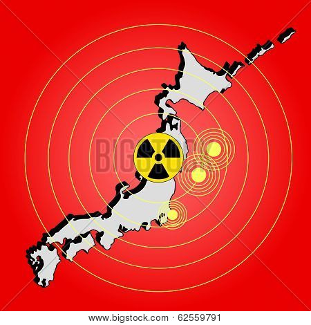Earthquake radiation and tsunami on Japan island