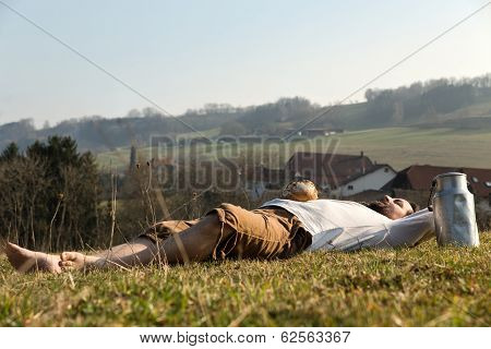 Man Relaxing In The Nature