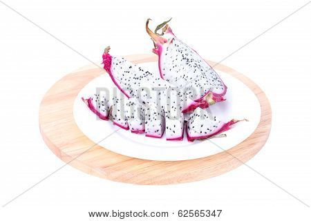 Sliced Dragon Fruit On Wooden  Board