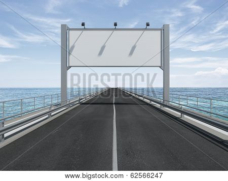 big blank billboard  on the highway
