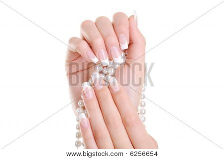 Female Hand With Beauty French Manicure