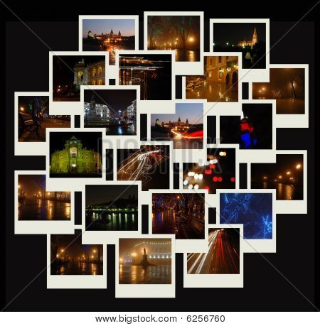 Stack Of Photo Shots With Night Cityscapes