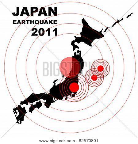 Earthquake and tsunami on Japan island