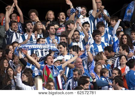BARCELONA - NOV, 30: Real sociedad supporters celebrating goal during a Spanish league match against RCD Espanyol at the Estadi Cornella on November 30, 2013 in Barcelona, Spain