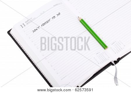 Open Notebook With Sign