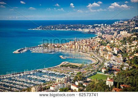 Panoramic view on Sanremo,  Azur coast,  Italy.