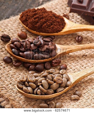 green, roasted and ground coffee in wooden spoons