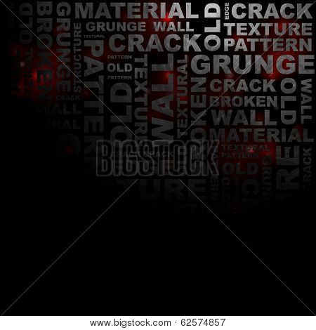 Dark gloomy grunge word pattern. Vector background eps 10