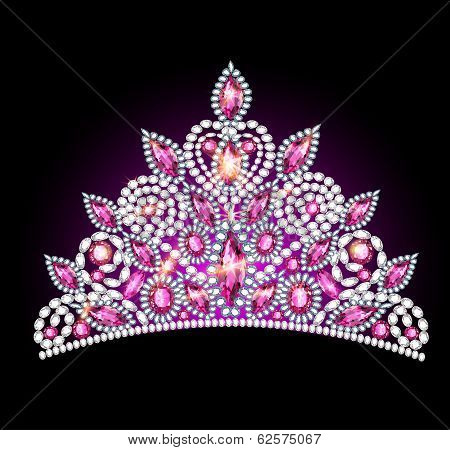 Crown Tiara Women With Pink Gemstones