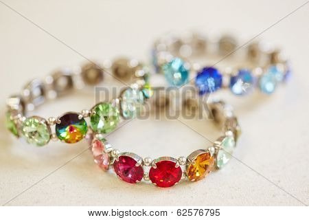 Colorful bracelets on display in a jewelry store
