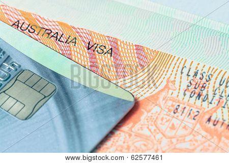 Passport Stamp Visa And Credit Card For Travel Concept Background, Australia