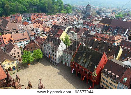 Munsterplatz And Freiburg Old Town, Germany