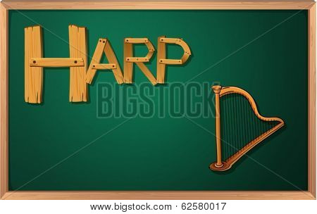 Illustration of a blackboard with a harp