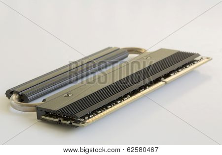A Single Stick of Ram with Heat Sink Disk Drive