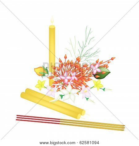 Red Ixora Flowers With Joss Sticks And Candle