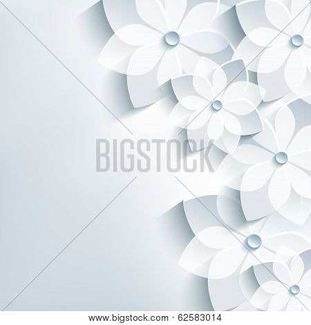 Floral  Trendy Abstract Background, 3D Flowers Sakura