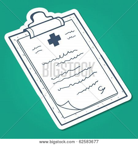 Prescription, case history card.